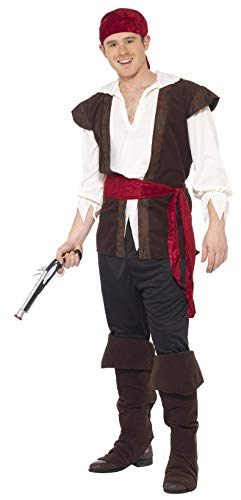 Smiffy's Adult men's Pirate Costume, Headscarf, Top, trousers, Belt and Bootcovers, Pirate, Serious Fun, Size L, 20469 from Smiffy's