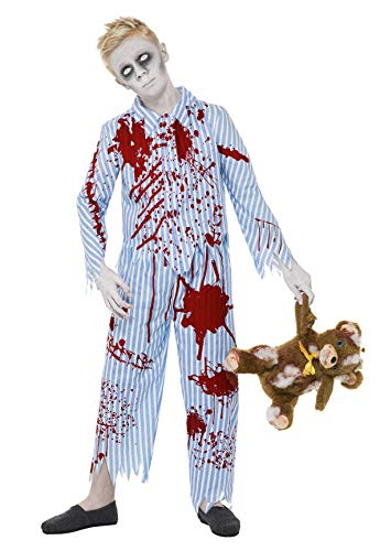 Smiffys Children's Zombie Pyjama Boy Costume, Top & Trousers, Colour: Blue and Red, Size: M, 23353 from Smiffy's
