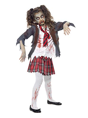 Smiffys Children's Zombie School Girl Costume, Tartan Skirt, Jacket, Mock Shirt and Tie, Serious Fun, Size:Large, 43025M from Smiffy's