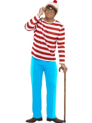 Smiffys Men's Where's Wally? Costume, Top, Trousers, Glasses & Hat, Colour: Red and White, Size: L, 34591 from Smiffy's