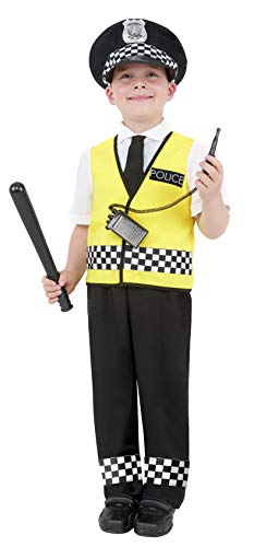 Smiffy's Police Boy Costume, Top, Trousers, Hat and Radio Set, Colour: Mixed, Size: S, 38861 from Smiffy's