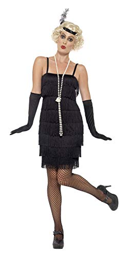 Smiffys 20s Delighed Girl Costume with Short Dress, Headband and Gloves, Black, M - UK Size 12-14 from Smiffys