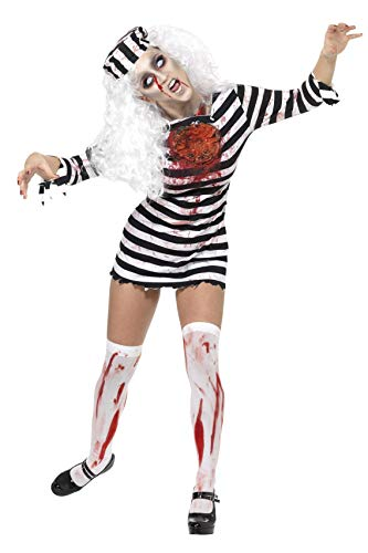 Smiffys Women's Zombie Convict Costume, Dress and Hat, Size: L, Colour: Black and White, 34131 from Smiffys