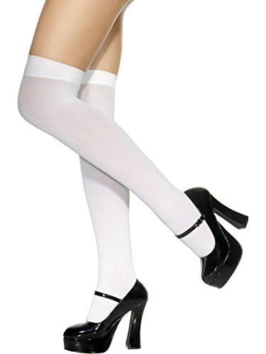 Stockings, White Thigh High, 40 Denier from Smiffys