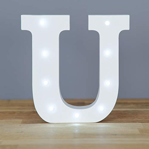 Up in Lights Decorative LED Alphabet White Wooden Letters - Letter U from Smiling Faces MAKING SMILES SINCE 2001