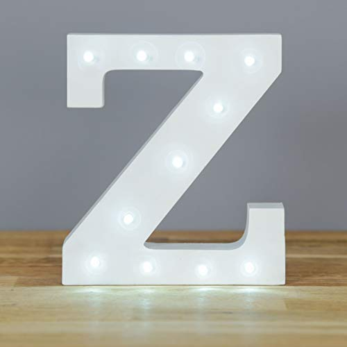 Up in Lights Decorative LED Alphabet White Wooden Letters - Letter Z from Smiling Faces MAKING SMILES SINCE 2001