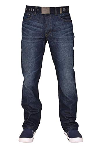 Smith & Jones Men's Wide Leg Bootcut Jeans w/Free Belt (40W x 34L, Darkwash) from Smith and Jones