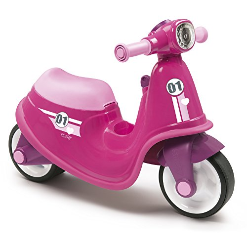 Smoby Pink Kids Scooter Stylish Toddler Ride On with Mechanical Key, Toy Box and Front Light, Ages 18+ Months from Smoby