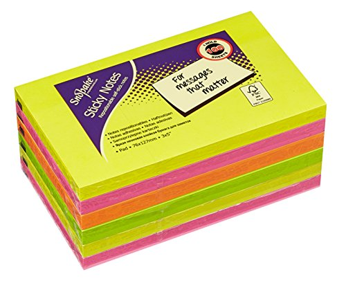 Snopake 127x76mm Sticky Notes - Neon/ Assorted Colours (Pack of 6 , 100 Sheets per Pad) from Snopake