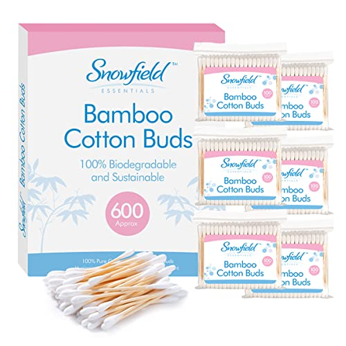 Bamboo Cotton Buds 6pk (6 x 100) by Snowfield | 100% Biodegradable Cotton Buds | Free Ebook with helpful hints and tips from Snowfield