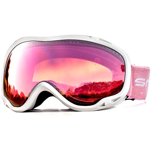 Snowledge Ski Goggles Womens with UV Protection, OTG Skiing Snow Goggles of Dual Lens with Anti Fog for Men, Women (W-rose red) from Snowledge