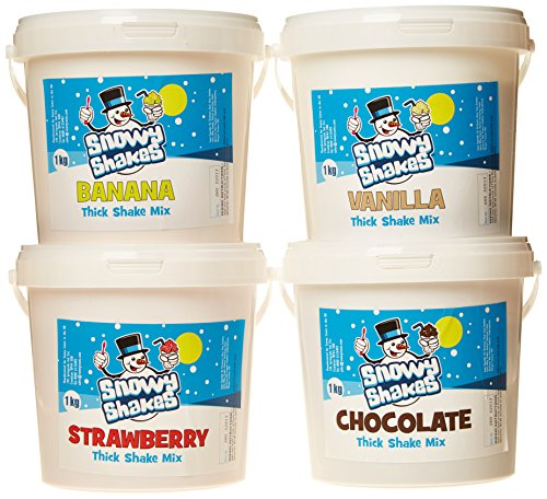 Snowycones Snowyshakes Chocolate/Strawberry/Vanilla/Banana Thick Shake Powder 1 kg (Pack of 4) from Snowycones