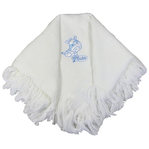 Snuggle Baby Acrylic Embroidered Baby Shawl, Sky Blue from Snuggle Baby