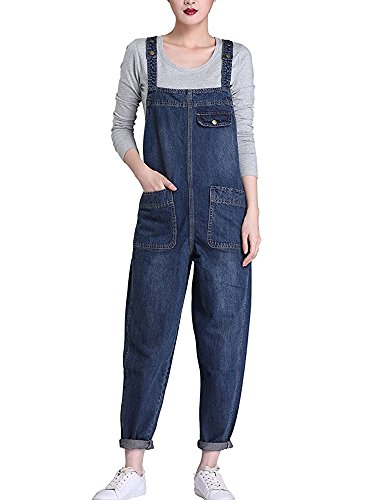 Sobrisah Women Regular Fit Denim Dungarees Long Overalls Jumpsuit Playsuit Jeans Trousers 6XL UK-22 from Sobrisah