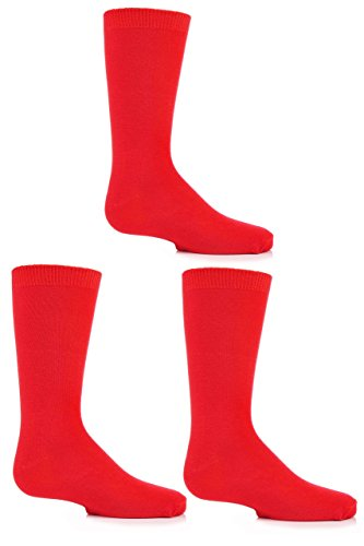 Boys and Girls 3 Pair SockShop Plain Bamboo Socks with Comfort Cuff and Handlinked Toes - Red 4-6 from Sock Shop