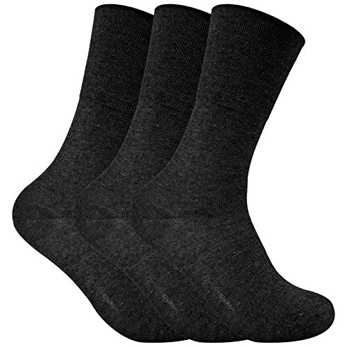 cc0022ce9f 3 Pack Ladies Thin Wide Top Non Elastic Thermal Diabetic Socks for Poor  Circulation (4