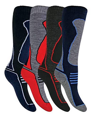 4 Pairs Kids Girls Boys Extra Warm Long Knee High Colourful Winter Wool Blend Ski Socks (9-12 uk, SL500 Boys) from Sock Snob