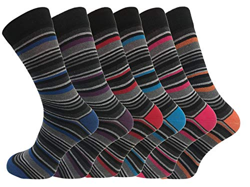 6 Pk Mens Pierre Calvini Luxury Stripe Cotton Rich Sock 6-11 UK from Socks Uwear