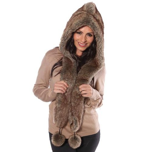 Womens Faux Fur Hooded Scarf With Pom Poms Winter Thermal Hat 57cm Taupe from Socks Uwear
