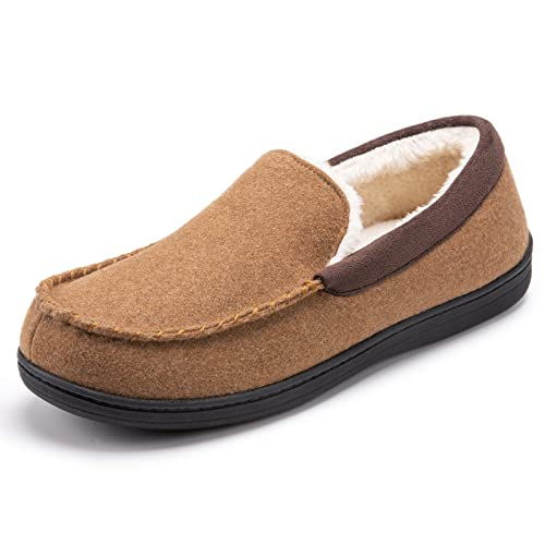 Men's Memory Foam Plush Fleece Lined Moccasin Slippers, Indoor Outdoor Wool Micro Suede Shoes from SoftPeds