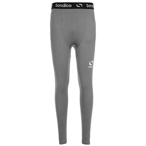 Sondico Kids Core Tights Junior Compression Fit Exercise Sport Baselayer Bottoms Grey Marl 9-10 Yrs from Sondico
