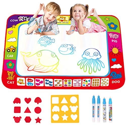 Soneer Water Magic Doodle Mat, Drawing Painting Mat(60×80cm) with 4 Magic Pen and 2 Drawing Templates,Reusable Aqua Water Drawing Mat, for Toddlers, Boys, Girls from Soneer