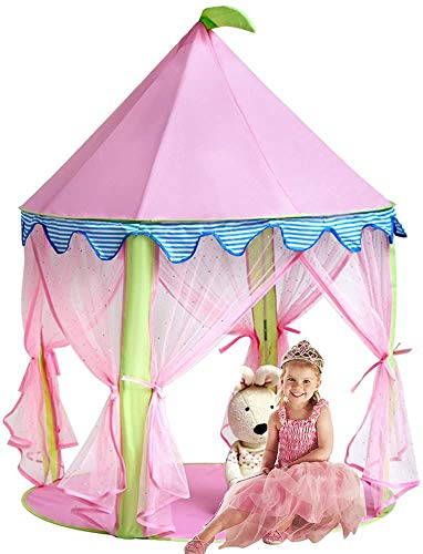 Girl's Princess Castle Tent,Sonyabecca Pink Playhouse for Girls Pop up Tent Reading Room from Sonyabecca