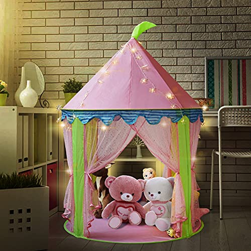 Sonyabecca Girl's Princess Castle Tent with 5 Meter Battery Operated Indoor Decoration Fairy Lights 50pcs LED Snowflakes lightiing Pink Playhouse for Girls Pop up Tent Reading Room from Sonyabecca