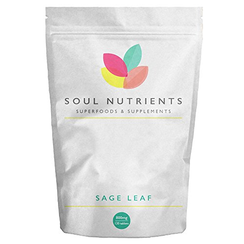 Sage Leaf Tablets- 800mg High Strength - Very Popular Supplement for Menopausal Symptoms- Helps to Reduce Hot Flushes and Night Sweats - Herbal HRT from Soul Nutrients