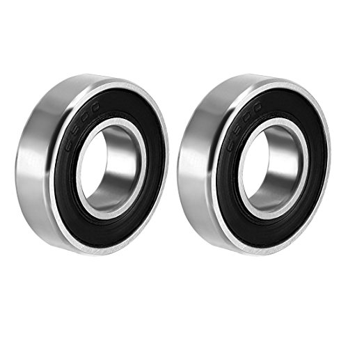 sourcing map 6900-2RS Deep Groove Ball Bearing Double Sealed 1180900, 10mm x 22mm x 6mm Carbon Steel Bearings (Pack of 2) from sourcing map