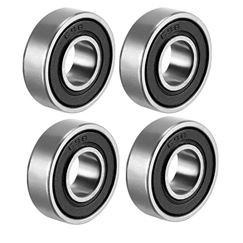 sourcing map 698-2RS Deep Groove Ball Bearing Double Sealed 1180098, 8mm x 19mm x 6mm Carbon Steel Bearings (Pack of 4) from sourcing map