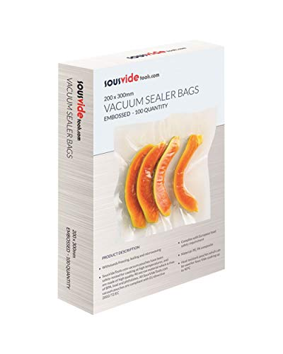100 x Embossed Food Preserving Sous Vide Vacuum Sealer Pouches Bags (200mm x 300mm) from Sous Vide Tools
