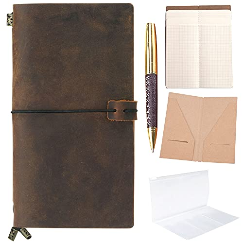 Refillable Leather Journal Refillable Travellers Notebook for Men Handmade Travelers Leather Travel Journal for Women Vintage Antique Travel Diary Standard Notebook TN + Pen For Sketching Drawing Note from Sovereign-Gear