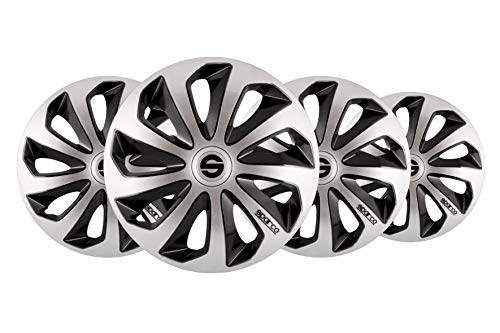 "SPARCO SPC1673SVBK Sicilia Wheel Covers, Silver/Black, Set of 4, 16"" from SPARCO"