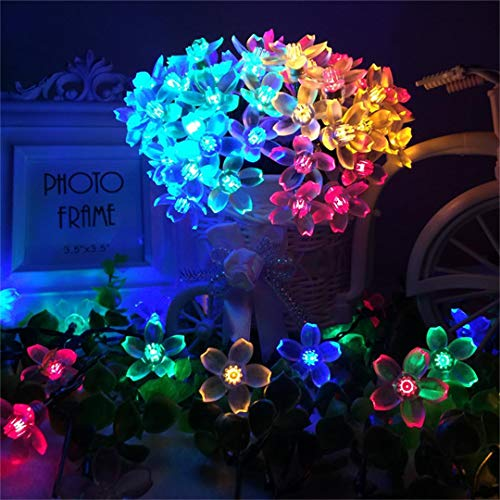 Solar Fairy Lights,Spardar 50 LED String 22 Feet Flower Bulbs Solar Waterproof Decorative Fence Lights for Garden, Patio, Yard, Home (Colorful) from Spardar