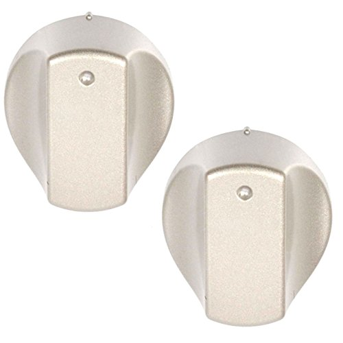 SPARES2GO Control Knob Switch for Hotpoint 'Hot-Ari ix' Oven Hob Cooker (Silver, Pack of 2 Knobs) from Spares2go
