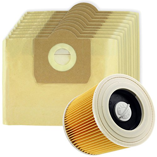 SPARES2GO High Filtration Large Bags + Filter Cartridge for Karcher WD3 WD3P Wet & Dry Vacuum Cleaner (Pack of 10 + Filter) from Spares2go