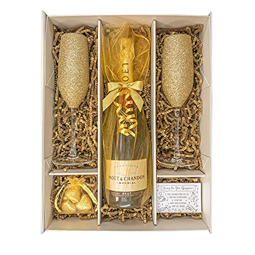 Sparkling Gold Moët and Chandon gift set hamper with two matching champagne flutes fully gift boxed Perfect Christmas Corporate Birthday Anniversary Thank-you Wedding Present for Him/Her from Sparkleware