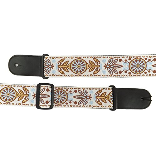 Classical/Acoustic/Bass/Electric Guitar Strap Patterned Design - Leather & Cotton (White Pattern/Tribal) from Spartan Music