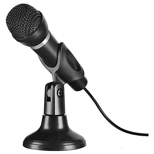 Speedlink Capo Desktop and Handheld Microphone ,perfect for voice and vocal recordings, stand included, noise suppressing, 3.5mm connector,SL-8703-SBK, Black from Speedlink