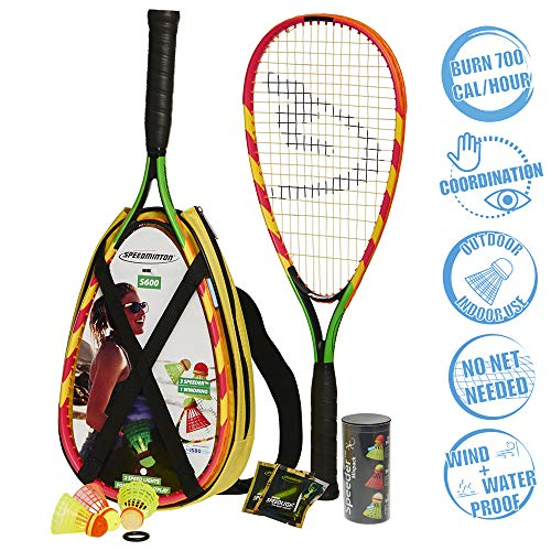 Speedminton S600 Set Speedminton S600 Set - Original Speed Badminton/ Crossminton Starter Set Including 2 Rackets, 3 Speeder, Speedlights, Bag - green, one size fit all from Speedminton