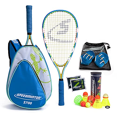 Speedminton S700 Set Speedminton S700 Set - Original Speed Badminton/ Crossminton All-round Set That Includes 2 Rackets, 5 Speeder Tube, Easy Court, Bag - blue, one size fit all from Speedminton