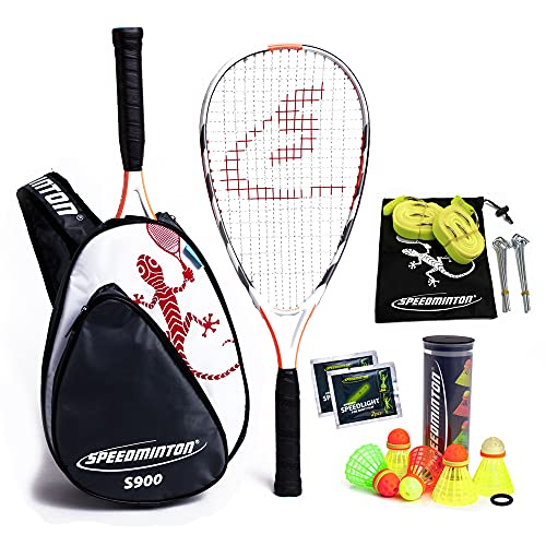 Speedminton S900 Set Speedminton S900 Set - Original Speed Badminton/ Crossminton Professional Set With 2 Carbon Rackets Incl. 5 Speeder, Playing Field, Bag - black, one size fit all from Speedminton