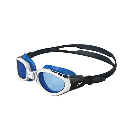 Speedo Unisex Adult Futura Biofuse Flexiseal Goggles, Oxid Grey/White/Blue, One Size from Speedo