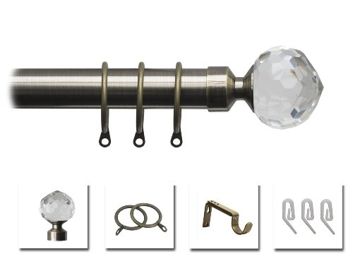 Speedy Pristine 25 - 28mm Crystal Extendable Metal Curtain Pole Set, Antique Brass, 170 - 300 Cm from SPEEDY