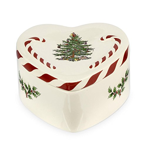 Portmeirion Home & Gifts Peppermint Lidded Heart Box Single, Ceramic, Multi-Colour, 13 x 12.8 x 6.8 cm from Portmeirion Home & Gifts
