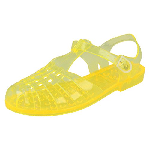 Ladies Classic Transparent Buckled Jelly Shoes 'F0714' - Yellow, Size UK 5 from Spot On