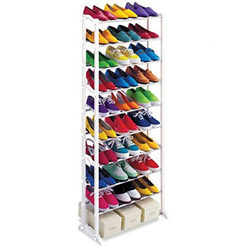 30 Pairs 10 Tier Folding Stackable Shoe Rack Stand Organiser Storage Holder from Springo