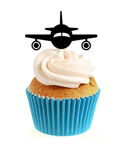 12 x Novelty Aeroplane Landing Silhouette (Any Colour) Edible Standup Wafer Paper Cake Toppers from Sprinkles and Toppers