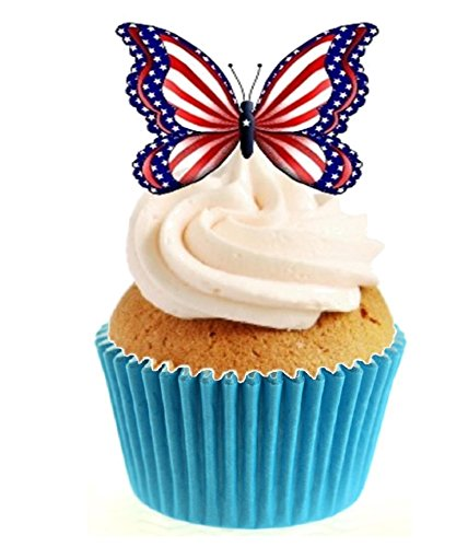 12 x Novelty American Style Butterfly Edible Standup Wafer Paper Cake Toppers from Sprinkles and Toppers